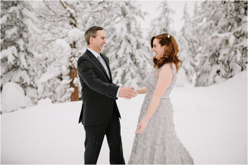 Timberline Lodge Winter Elopement | Christa and Ed