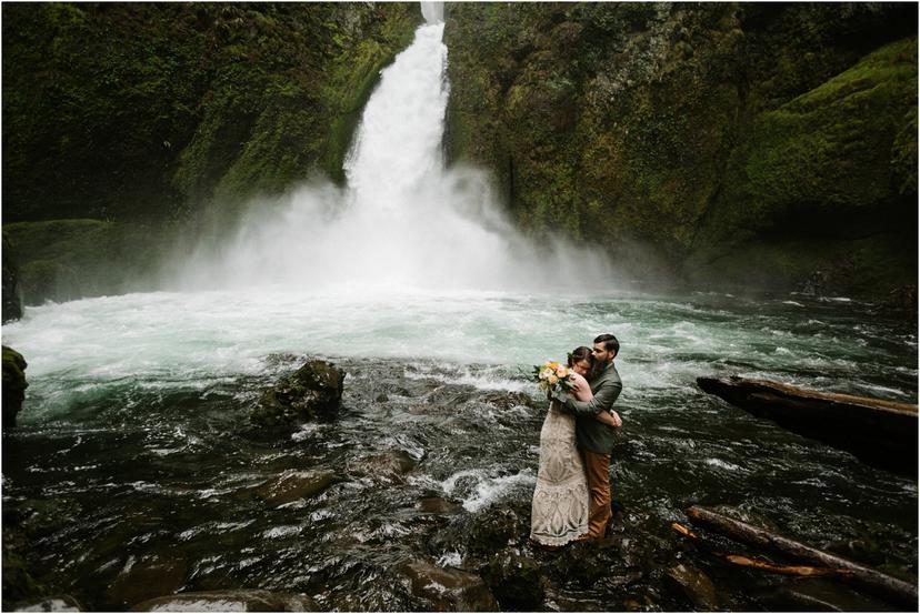 Portland Backyard Wedding and Wahclella Falls Elopement | Jenna and Eric